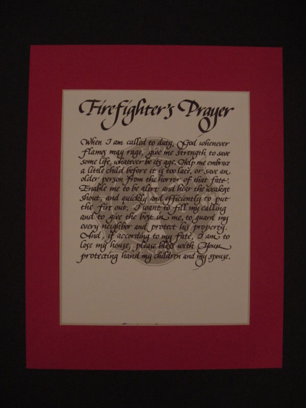 calligraphy, lettering, firefighter prayer