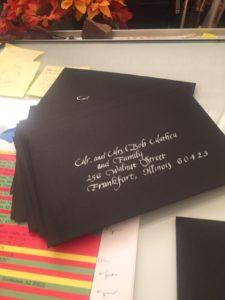 calligraphy, lettering, envelope addressed