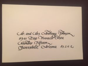 calligraphy, lettering, envelope addressed